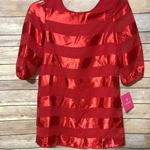 Amy Byer girls size 8 dress. NWT. Red striped.